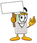 Clip Art Graphic of a Calculator Cartoon Character Holding a Blank Sign