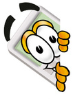 Clip Art Graphic of a Calculator Cartoon Character Peeking Around a Corner