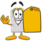 Clip Art Graphic of a Calculator Cartoon Character Holding a Yellow Sales Price Tag