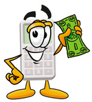 Clip Art Graphic of a Calculator Cartoon Character Holding a Dollar Bill