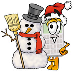 Clip Art Graphic of a Calculator Cartoon Character With a Snowman on Christmas