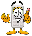 Clip Art Graphic of a Calculator Cartoon Character Holding a Pencil