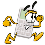 Clip Art Graphic of a Calculator Cartoon Character Running