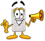 Clip Art Graphic of a Calculator Cartoon Character Holding a Megaphone