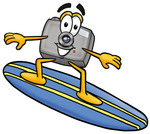 Clip Art Graphic of a Flash Camera Cartoon Character Surfing on a Blue and Yellow Surfboard