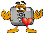 Clip Art Graphic of a Flash Camera Cartoon Character With His Heart Beating Out of His Chest