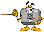 Clip Art Graphic of a Flash Camera Cartoon Character Holding a Pointer Stick