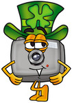 Clip Art Graphic of a Flash Camera Cartoon Character Wearing a Saint Patricks Day Hat With a Clover on it