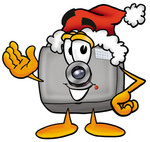 Clip Art Graphic of a Flash Camera Cartoon Character Wearing a Santa Hat and Waving