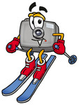 Clip Art Graphic of a Flash Camera Cartoon Character Skiing Downhill