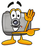 Clip Art Graphic of a Flash Camera Cartoon Character Waving and Pointing