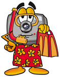 Clip Art Graphic of a Flash Camera Cartoon Character in Orange and Red Snorkel Gear