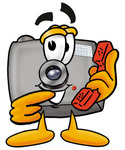 Clip Art Graphic of a Flash Camera Cartoon Character Holding a Telephone