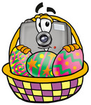 Clip Art Graphic of a Flash Camera Cartoon Character in an Easter Basket Full of Decorated Easter Eggs