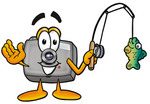 Clip Art Graphic of a Flash Camera Cartoon Character Holding a Fish on a Fishing Pole