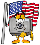 Clip Art Graphic of a Flash Camera Cartoon Character Pledging Allegiance to an American Flag