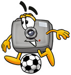 Clip Art Graphic of a Flash Camera Cartoon Character Kicking a Soccer Ball