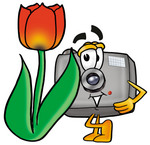 Clip Art Graphic of a Flash Camera Cartoon Character With a Red Tulip Flower in the Spring