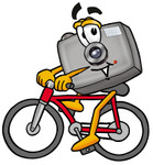 Clip Art Graphic of a Flash Camera Cartoon Character Riding a Bicycle