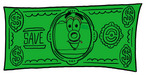 Clip Art Graphic of a Flash Camera Cartoon Character on a Dollar Bill