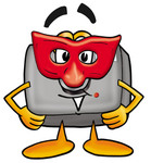 Clip Art Graphic of a Flash Camera Cartoon Character Wearing a Red Mask Over His Face