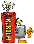 Clip Art Graphic of a Flash Camera Cartoon Character Standing With a Lit Stick of Dynamite
