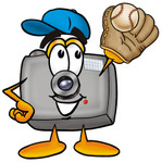 Clip Art Graphic of a Flash Camera Cartoon Character Catching a Baseball With a Glove