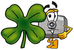 Clip Art Graphic of a Flash Camera Cartoon Character With a Green Four Leaf Clover on St Paddy's or St Patricks Day