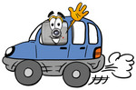 Clip Art Graphic of a Flash Camera Cartoon Character Driving a Blue Car and Waving
