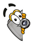 Clip Art Graphic of a Flash Camera Cartoon Character Peeking Around a Corner