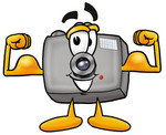 Clip Art Graphic of a Flash Camera Cartoon Character Flexing His Arm Muscles