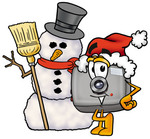 Clip Art Graphic of a Flash Camera Cartoon Character With a Snowman on Christmas