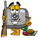 Clip Art Graphic of a Flash Camera Cartoon Character Duck Hunting, Standing With a Rifle and Duck