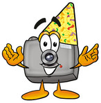 Clip Art Graphic of a Flash Camera Cartoon Character Wearing a Birthday Party Hat