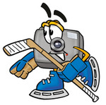 Clip Art Graphic of a Flash Camera Cartoon Character Playing Ice Hockey