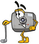 Clip Art Graphic of a Flash Camera Cartoon Character Leaning on a Golf Club While Golfing