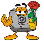 Clip Art Graphic of a Flash Camera Cartoon Character Holding a Red Rose on Valentines Day