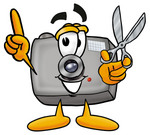 Clip Art Graphic of a Flash Camera Cartoon Character Holding a Pair of Scissors