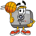 Clip Art Graphic of a Flash Camera Cartoon Character Spinning a Basketball on His Finger