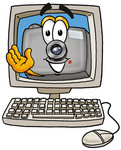 Clip Art Graphic of a Flash Camera Cartoon Character Waving From Inside a Computer Screen