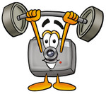 Clip Art Graphic of a Flash Camera Cartoon Character Holding a Heavy Barbell Above His Head