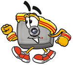 Clip Art Graphic of a Flash Camera Cartoon Character Speed Walking or Jogging