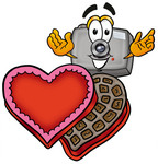 Clip Art Graphic of a Flash Camera Cartoon Character With an Open Box of Valentines Day Chocolate Candies
