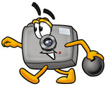 Clip Art Graphic of a Flash Camera Cartoon Character Holding a Bowling Ball