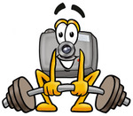 Clip Art Graphic of a Flash Camera Cartoon Character Lifting a Heavy Barbell