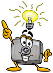 Clip Art Graphic of a Flash Camera Cartoon Character With a Bright Idea