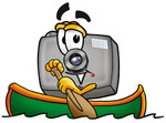 Clip Art Graphic of a Flash Camera Cartoon Character Rowing a Boat
