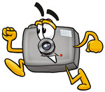 Clip Art Graphic of a Flash Camera Cartoon Character Running