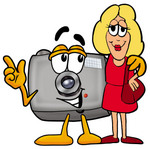 Clip Art Graphic of a Flash Camera Cartoon Character Talking to a Pretty Blond Woman