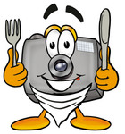 Clip Art Graphic of a Flash Camera Cartoon Character Holding a Knife and Fork